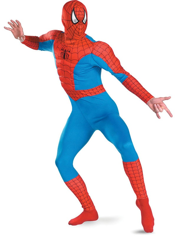 Transform into the instantly recognisable, officially licensed and comic book favourite Spiderman!  This Spiderman costume includes a one-piece blue and red jumpsuit featuring muscle chest torso, black web print and the trademark printed spider motif.   This lightweight costume not only includes the muscle chest, but foam padded arms giving you the authentic muscly look which will not only get you noticed on the dance floor but won't restrict you throwing your shapes on the dancefloor!