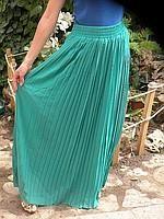 Плиссированная шифоновая юбка бирюза