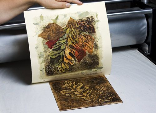 artist step-by-step with collograph and chine colle
