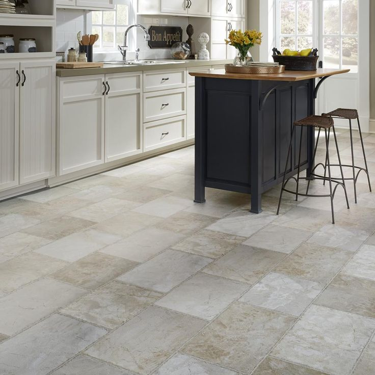 Resilient Natural stone vinyl floor upscale rectangular large-scale travertine / Mannington Parthenon in Pumice