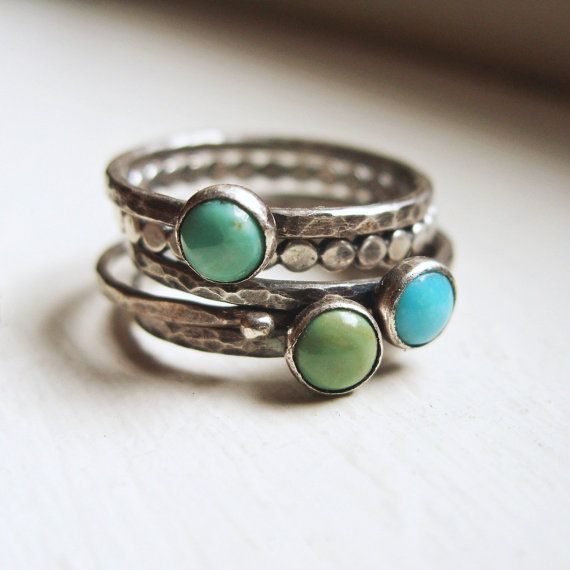 Tricolor Turquoise Stacking Rings in Antiqued Sterling Silver - Set of 5 Natural Stone Stacking Bands - Kingman Arizona Turquoise on Etsy, $82.00