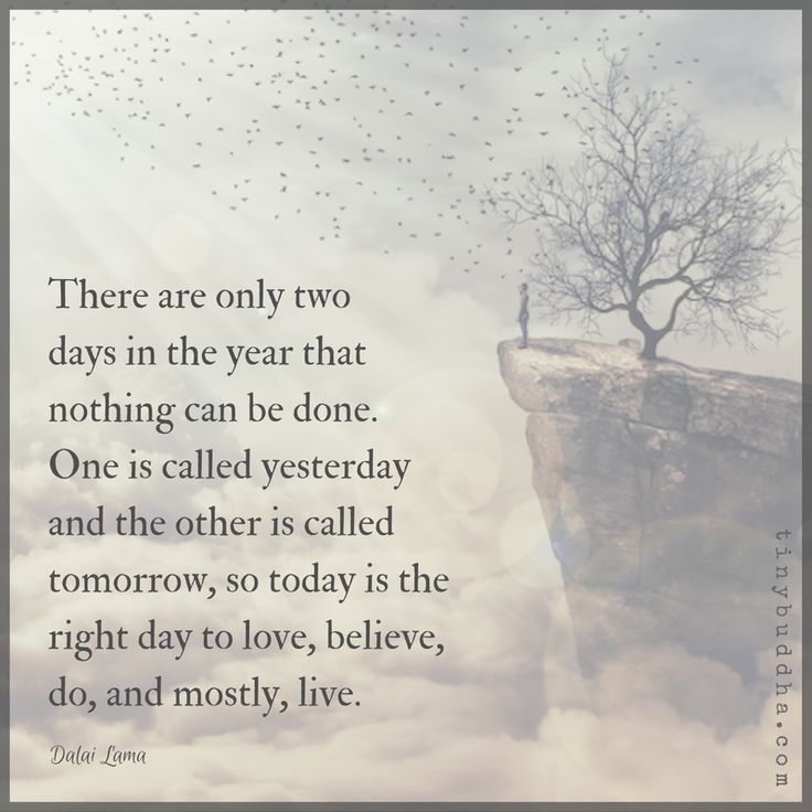 There are only two days in the year that nothing can be done. One is called yesterday and the other is called today, so today is the right day to...