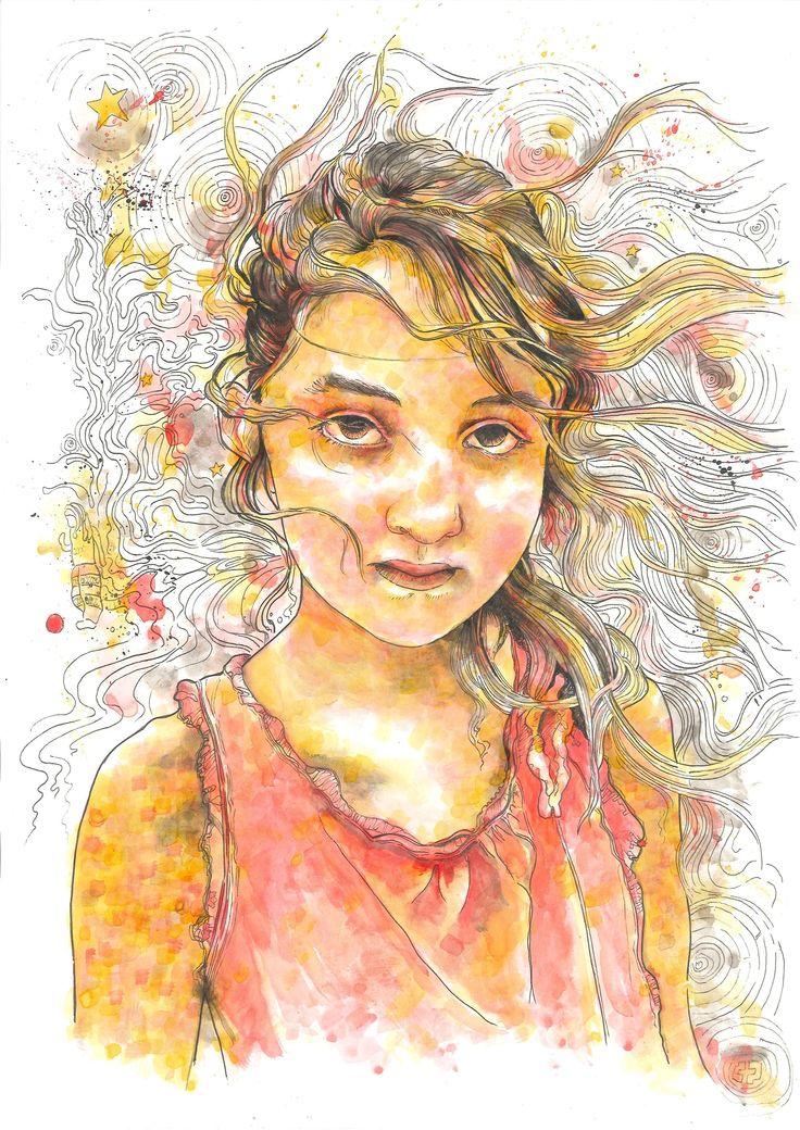 Vasiliki / custom portrait (42 x 29,7 / ink on paper)
