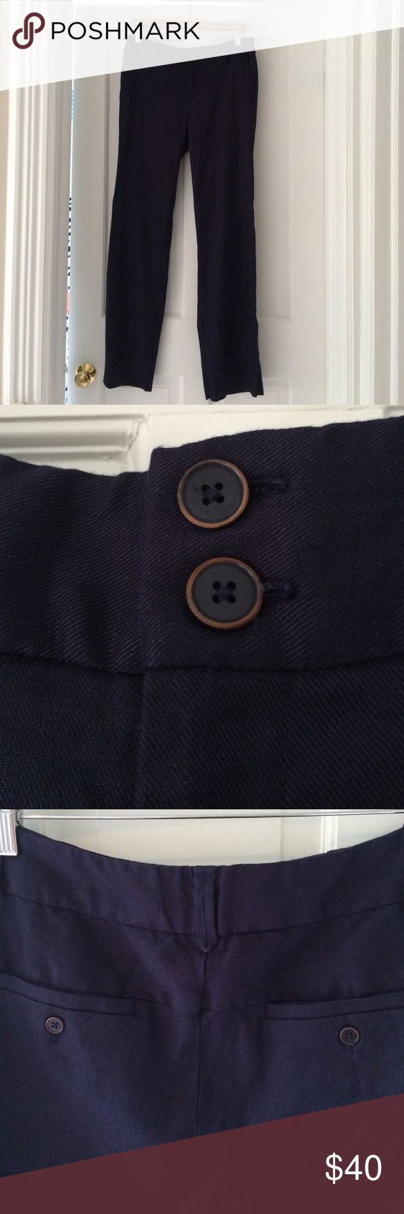Anthropologie Dress Pants Gorgeous navy blue dress pants by Elevenses for Anthropologie in pristine condition! Anthropologie Pants Trousers