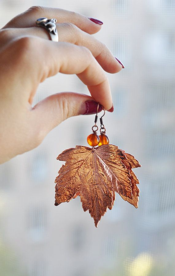 """Maple leaves covered with copper. This technique is called """"electroformy"""". Hope I will try creating such things some day!"""