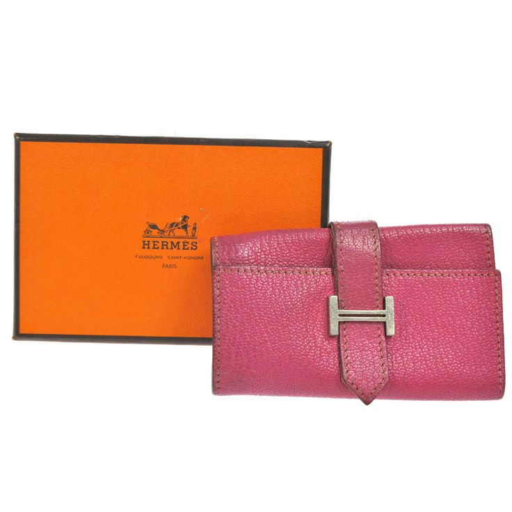 Authentic HERMES Vintage H Logos Beant Key Case Chain Pink Leather France V02463