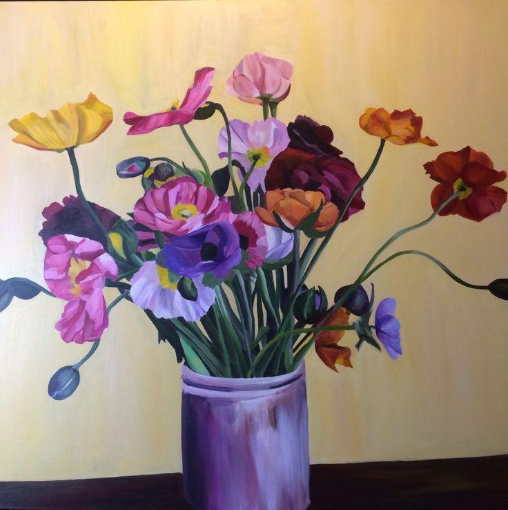 'Spring Poppies' Emma Targett 100 x 100cm acrylic on canvas www.emmatargett.com