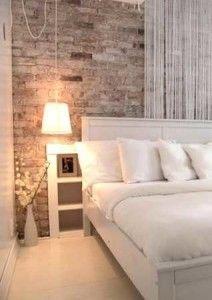 vintage wall in modern bedroom - Brick Wall Bedroom