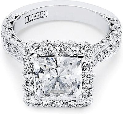 Tacori RoyalT Princess Pave Diamond Halo Engagement Ring  : A true dream come true for any Tacori princess. With big brilliant round spotlight diamonds surround the princess cut center stone, this Tacori engagement ring is absolutely flawless. For a mega-diamond look this engagement ring will truly take your breath away. Tacori signature crescent silhouette lines the profile for a stunning design to last a lifetime.