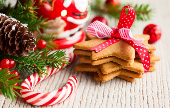 Wallpaper cookies, Christmas, stars, ribbons, pastries, desserts, candies