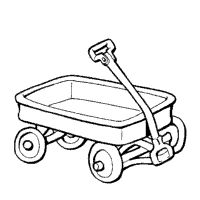 Little red wagon coloring page