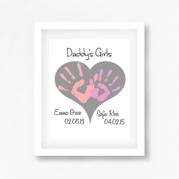 Daddy's Girls Gift Gift for Daddy from by PerfectLittlePrints