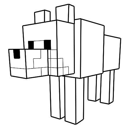 Dessin Le loup dans Minecraft a colorier