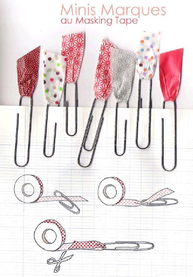 Washi Tape Crafts - Washi Tape Paper Clips - DIY Projects Made With Washi Tape - Wall Art, Frames, Cards, Pencils, Room Decor and DIY Gifts, Back To School Supplies - Creative, Fun Craft Ideas for Teens, Tweens and Teenagers - Step by Step Tutorials and Instructions http://diyprojectsforteens.com/washi-tape-ideas