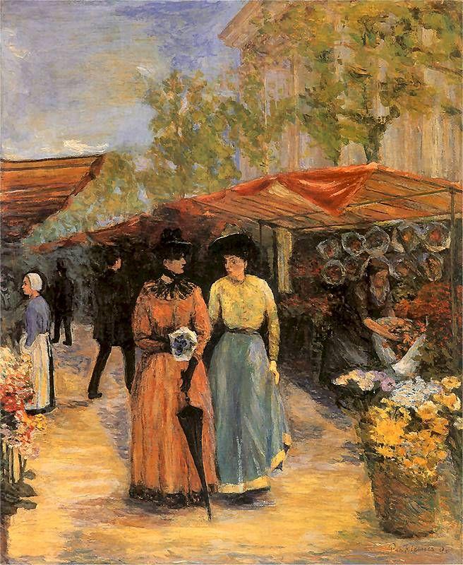 Flower Market at the Church of St. Madeleine in Paris, 1890 by Jozef Pankiewicz (Polish 1866-1940)