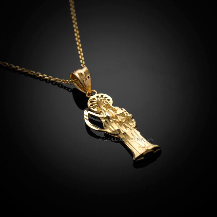 Santa muerte jewelry santamuerte 20 pinterest gold santa muerte charm necklace mozeypictures Images