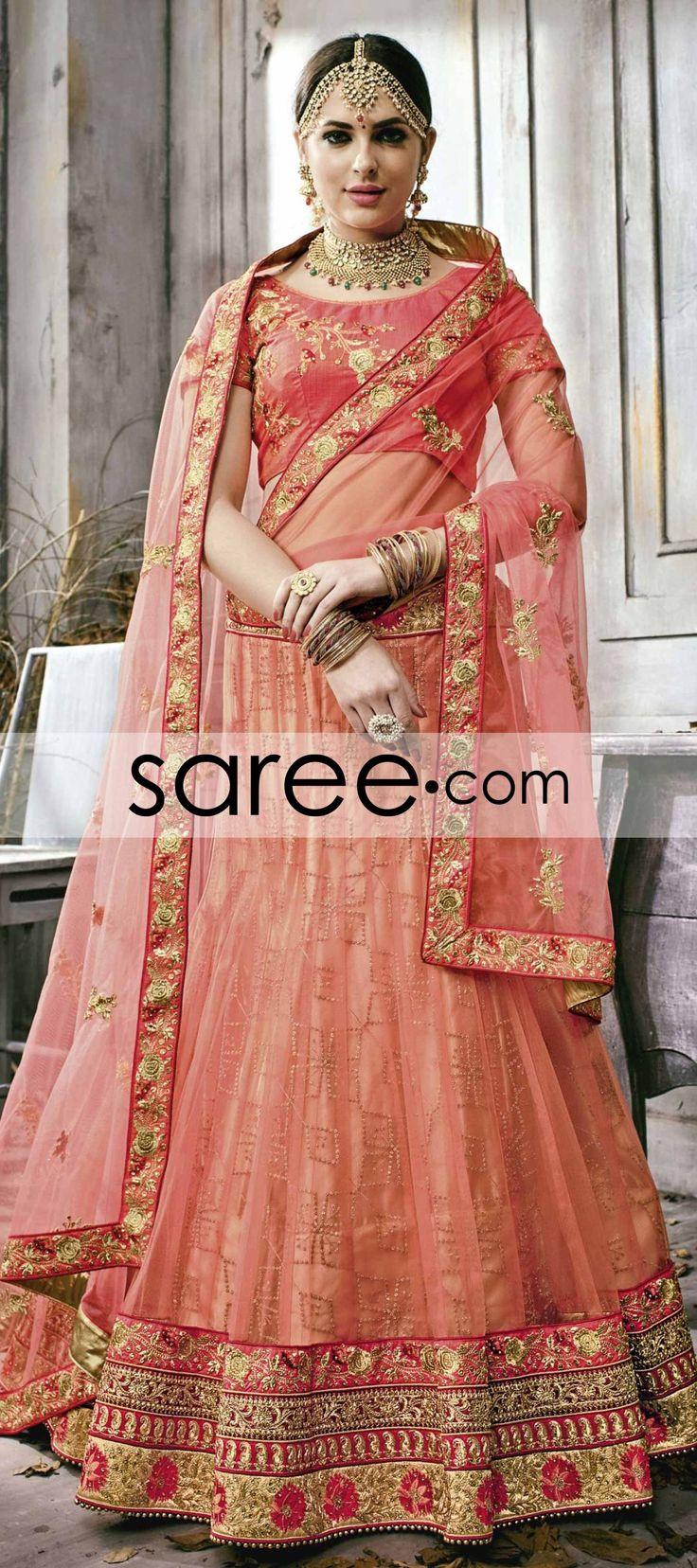Pink Net Lehenga Choli With Zari Embroidery Work