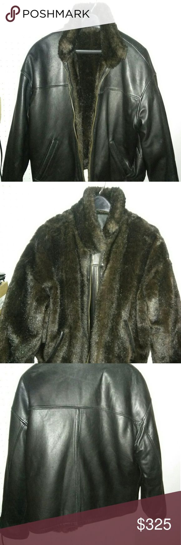 Men black reversable leather and faux mink coat. Pre-owned to new Leather faux mink fur reversable men Pelle studios bomber style coat jacket.  Size L to 1X. Sleeve 32-34. Length 25.5. Pelle Studio Jackets & Coats Bomber & Varsity