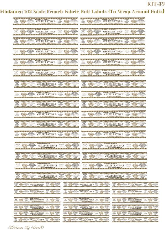 Miniature 1:12 Frenchinspired Fabric Bolt labels Kit- 39