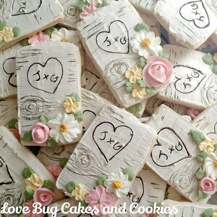 Rustic chic wedding cookies or anniversary cookies