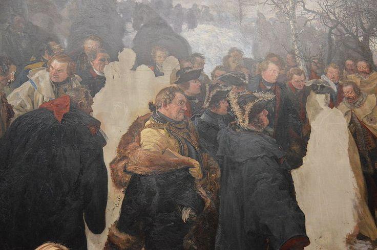 """Adolph Menzel's unfinished 1859-61 painting """"Ansprache Friedrichs des Großen an seine Generale vor der schlacht bei Leuthen 1757"""" (Frederick the Great Addresses his Generals before the Battle of Leuthen in 1757) at the Alte Nationalgalerie, Berlin."""