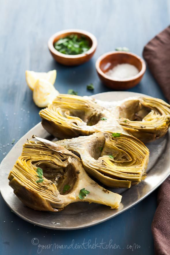 Oven Braised Artichokes with Garlic and Thyme from Sylvie gourmandeinthekitchen.com