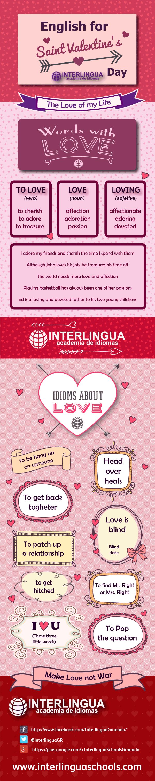Infografía vocabulario love #infographic #english #ingles #SanValentinesday #SanValentin
