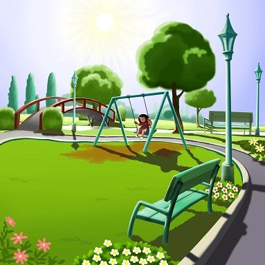 This is a digital style of illustration and the scene captures an afternoon scene where a kid is enjoying swings in the park.The background is very deep and this kins of children book illustration gives equal importance to the characters as well as the background elements. The elements from the background are very neatly done and the elements from the deep background can also be easily identified.