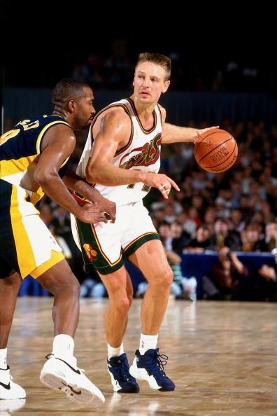 Detlef Schrempf of the Seattle SuperSonics posts up against the Indiana Pacers during the 1996 NBA Europe Tour on October 18 1996 at the...