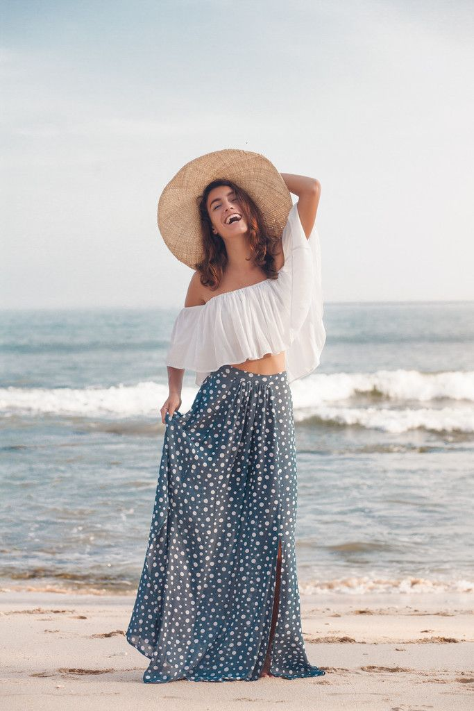 Navy Polka Dot Maxi Skirt