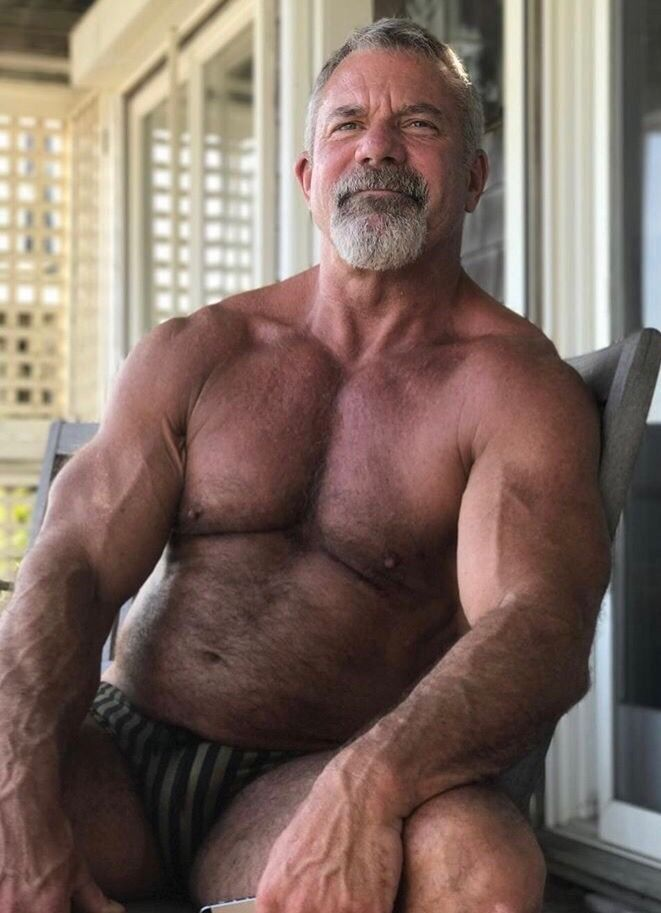 Hairy Chest - Sexy Muscle - Mature Men  2 Musclebears In -3497