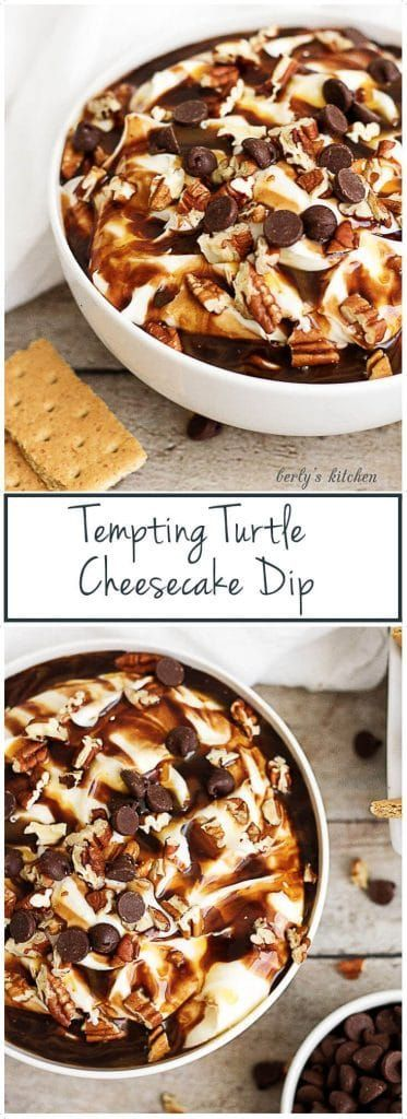 This tempting turtle cheesecake dip has all the flavor of your favorite creamy dessert including cream cheese, chocolate, caramel, and pecans.