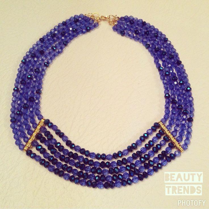 Collar pectoral por murano azul profundo. @beautytrends__