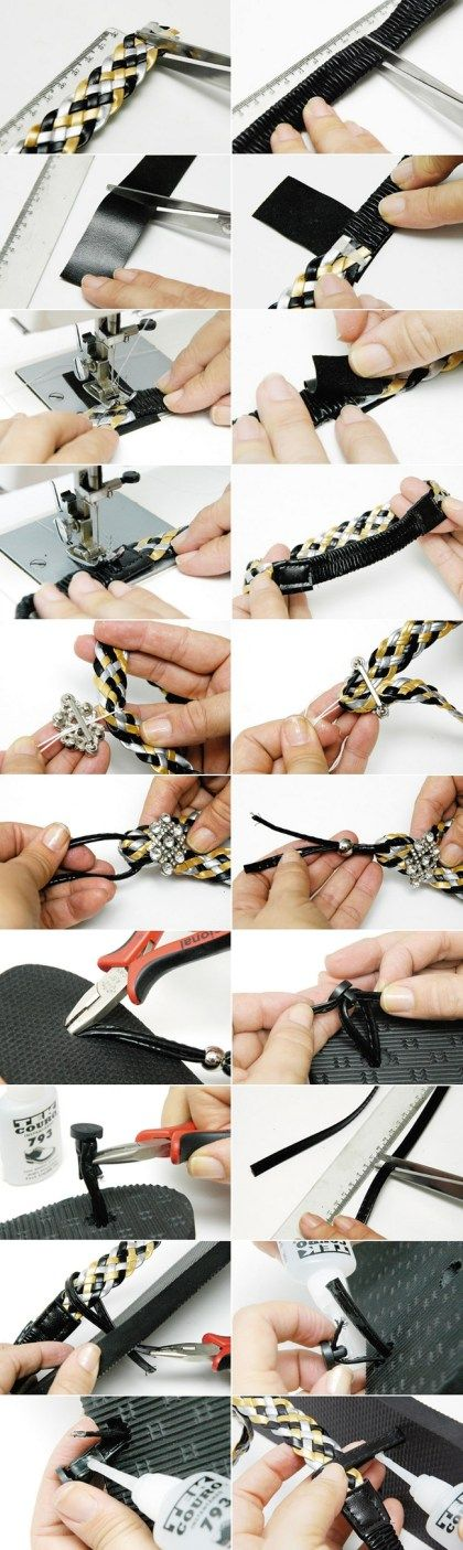flip flop crafts tutorial black silver yellow