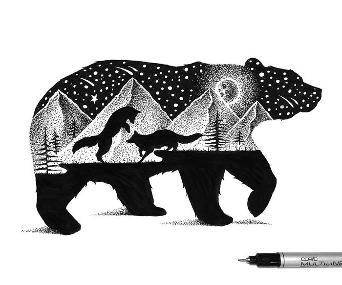 The Bear And The Foxes - 18 beautiful illustrations by Thiago Bianchini, illustrator and graphic designer.