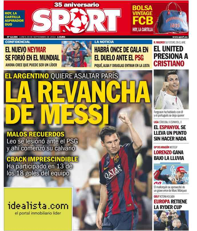 Portada Sport 29/09/14 #FCBarcelona #Barça #Barcelona #FCB #fcblive #SomUnEquip #ViscaBarça #SomosBarça #Culè #igersFCB #CanBarça #Catalunya