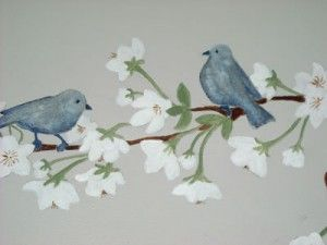 Birds on Cherry blossom branch