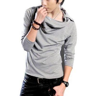 Men Hoodie Style Epaulets Detail Casual Autumn Shirt Light Gray S