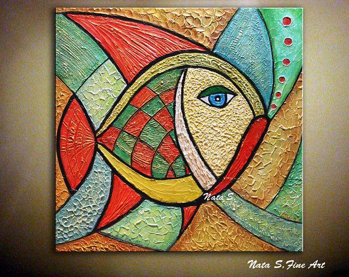 """Dipinto originale di pesce, arte moderna martellata, pittura astratta, colorato opera d'arte scultorea, parete arte pittura grande opera d'arte 24 """"x24""""-Nata S"""
