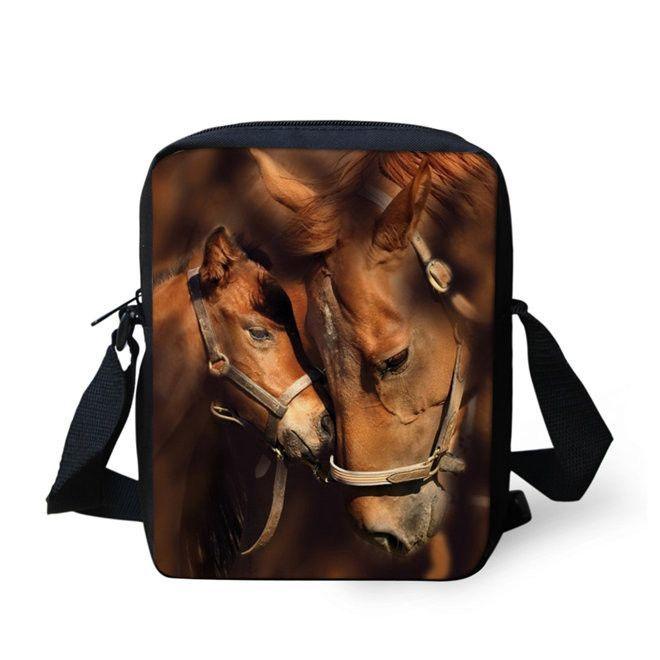 Crazy Horse Printing Shoulder Cross Body Bag Messenger