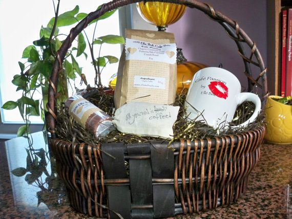 Birthday Gift Basket, Coffee Lovers Gift Basket, Custom Gift Baskets, Bridal Shower Gift Basket, New Home, Housewarming Gift, Cafe Passion