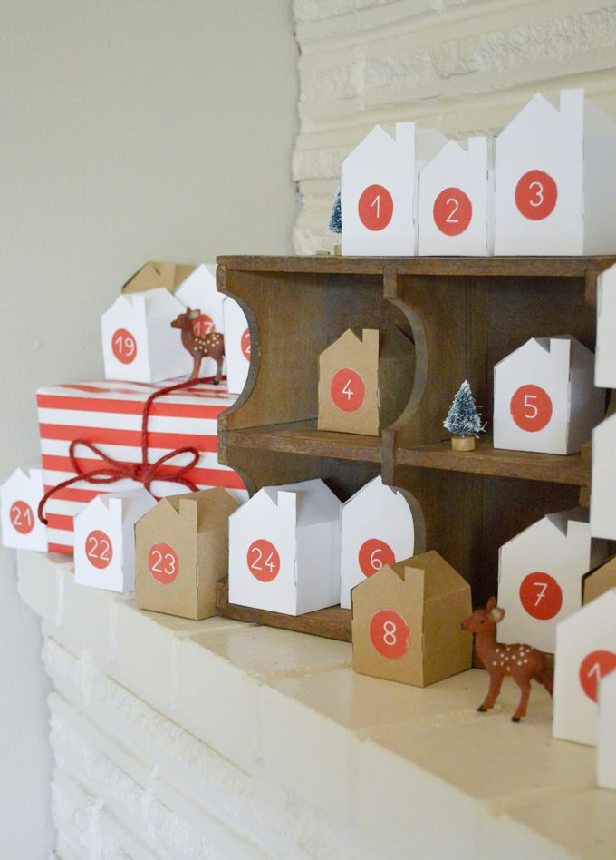 Little Village Advent Calendar + free templates (Advent numbers, Large House, Medium House, Small House) | swoon studio