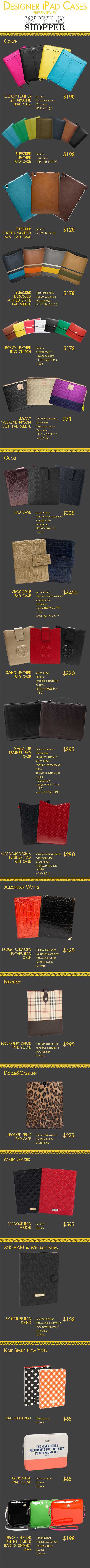 the designer ipad cases info-graphic from The StyleShopper is really a well-constructed and organized on-line demonstration of the latest offerings in the market for the seeker of top-of-the-line covers.