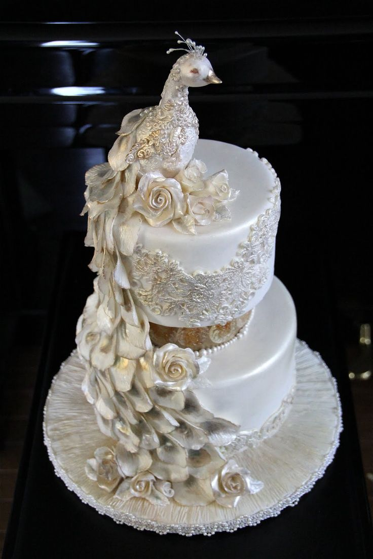 Decorate The Cake: Pearl Peacock Wedding Cake featuring The Mat , Fondx, Venuance Pearls and DTC Molds and Veiners