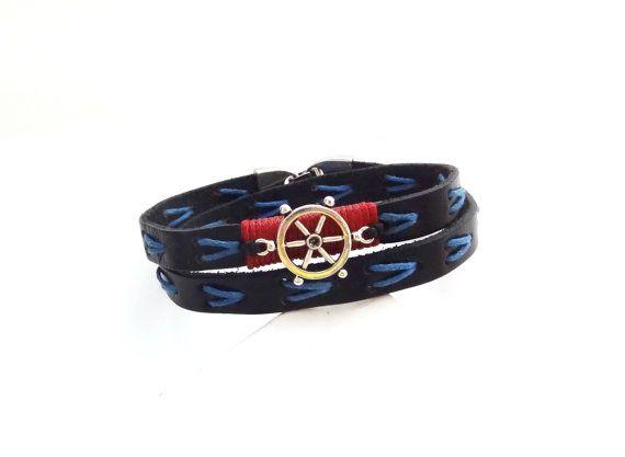 FREE SHIPPING, Men's leather bracelet, Nautical bracelet, Unisex bracelet,Anchor bracelet,Men jewelry,Men's Anchor Bracelet,Gift for Him