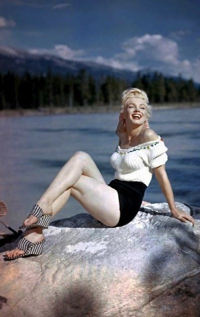 """Marilyn in Canada during the filming of """"River of No Return"""". Photo by John Vachon, 1953."""