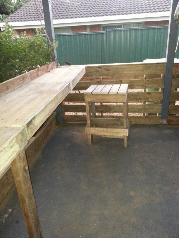 Fence, bench, and stool made from pallets