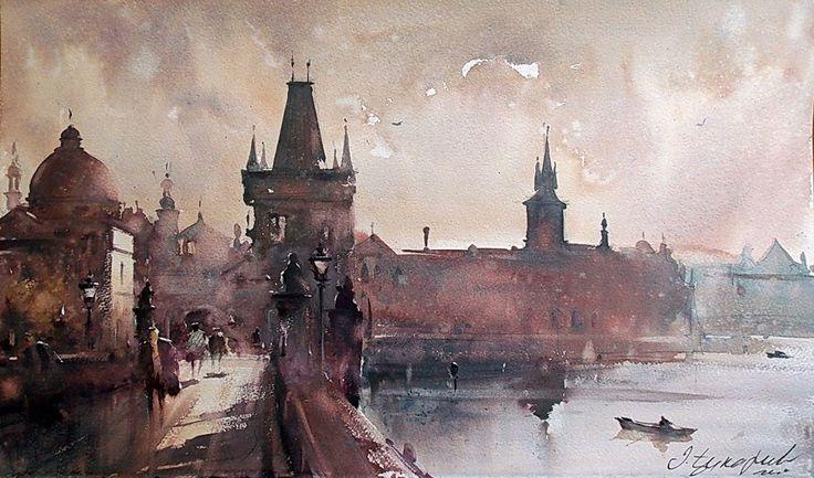 Dusan Djukaric Watercolor, 55x33 cm