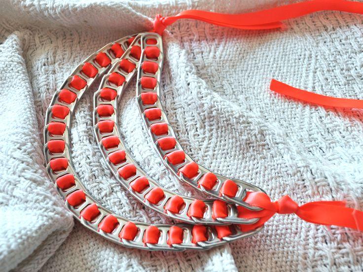 Neonowy naszyjnik z zawleczek w bÓ biżuteria na DaWanda.com