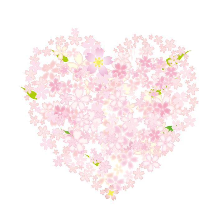 桜のハートイラスト 花 イラスト 桜 イラスト デザイン 桜イラスト